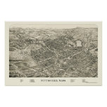 Pittsfield, mapa panorámico del mA - 1899 Poster