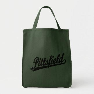 Pittsfield script logo in black tote bags