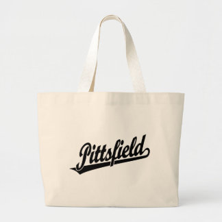 Pittsfield script logo in black canvas bag