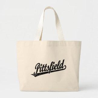 Pittsfield script logo in black distressed bags