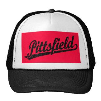 Pittsfield script logo in black distressed trucker hat