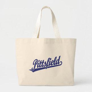 Pittsfield script logo in blue bags