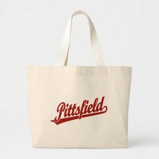 Pittsfield script logo in red tote bag