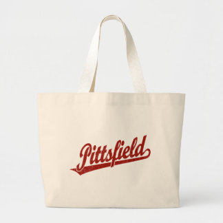 Pittsfield script logo in red distressed tote bag