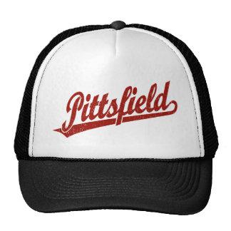 Pittsfield script logo in red distressed trucker hat