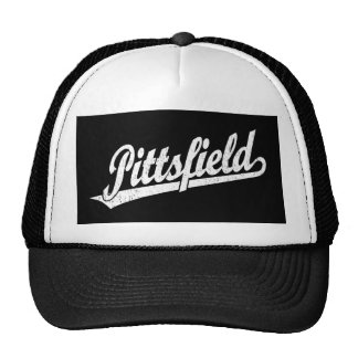 Pittsfield script logo in white distressed trucker hat