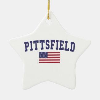 Pittsfield US Flag Ceramic Ornament