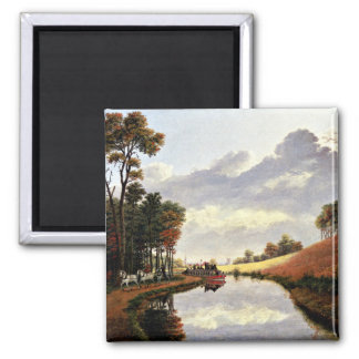 Pittsford on the Erie Canal painting 2 Inch Square Magnet