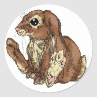Pitty Paws - brown Classic Round Sticker