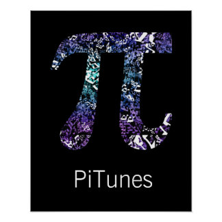 PiTunes Funny Math and Music Geek Poster