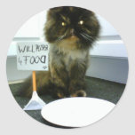 Pity Kitty Will Purr For Food Round Stickers