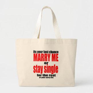 pity pitying proposal marry single couple joke quo large tote bag