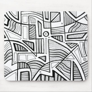 Pius Abstract Expression Black and White Mouse Pad