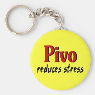 Pivo reduces stress basic round button keychain