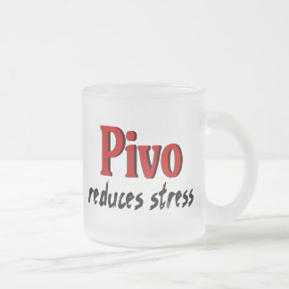 Pivo reduces stress frosted glass coffee mug