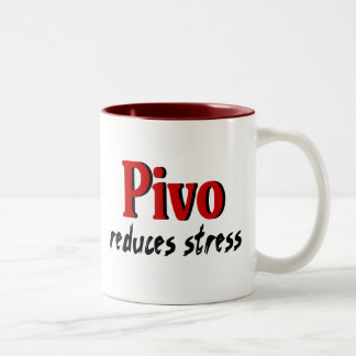 Pivo reduces stress Two-Tone coffee mug
