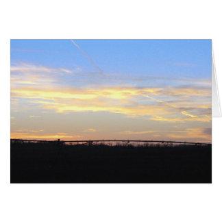 Pivote en puesta del sol tarjeta de felicitación