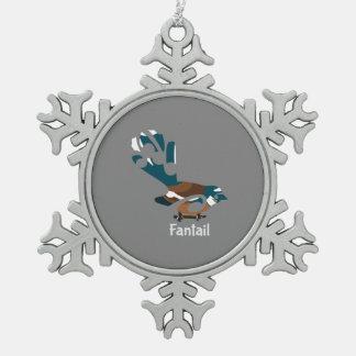 Piwakawaka  New Zealand bird Snowflake Pewter Christmas Ornament