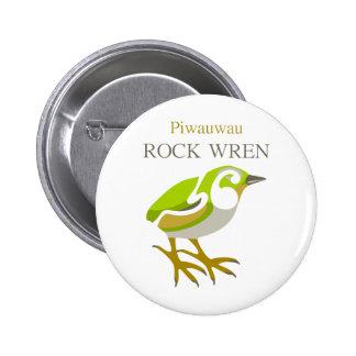 PIWAUWAU , New Zealand Bird, Rock Wren 2 Inch Round Button