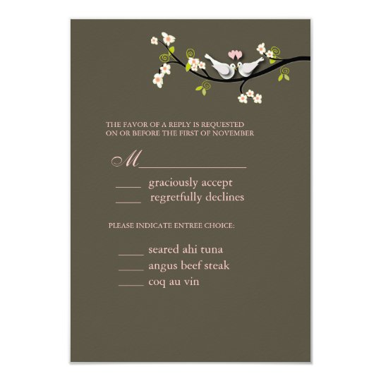 PixDezi rsvp, Doves on cherry blossoms branch Card