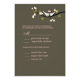 PixDezi rsvp, Doves on cherry blossoms branch 3.5x5 Paper Invitation Card