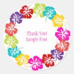 PixDezine hibiscus lei/DIY background color Classic Round Sticker