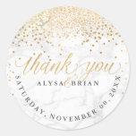 PixDezine Marble/Faux Gold Confetti Thank You Classic Round Sticker