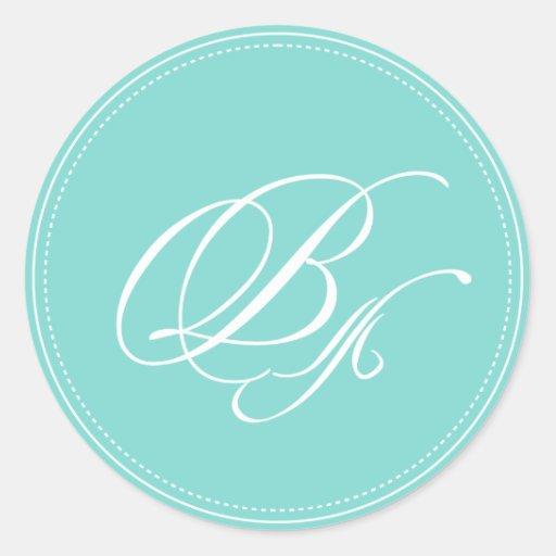 PixDezine monogram B, diy background color Classic Round Sticker