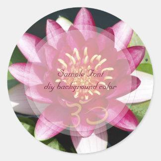 PixDezine om+red lotus/DIY background color Classic Round Sticker