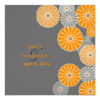 PixDezine Orange Kiku (chrysanthemum) Card