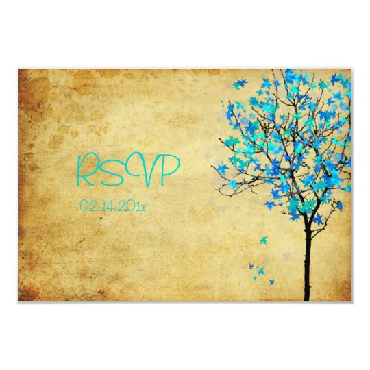 PixDezine rsvp viintage blue maple leaves Card