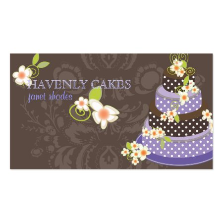 Violet and Chocolate Polka Dot Cake Business Cards