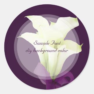 PixDezine white calla lily/DIY background color Classic Round Sticker