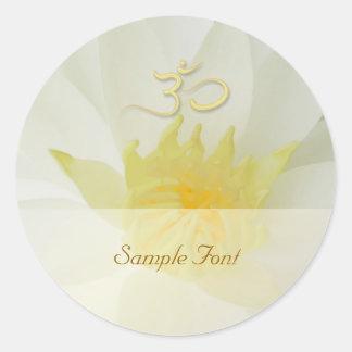 PixDezine white water lily+om Classic Round Sticker