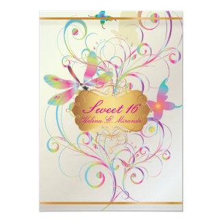 PixDezines 16/Butterflies dulce+Libélula+Arco iris Invitación 12,7 X 17,8 Cm