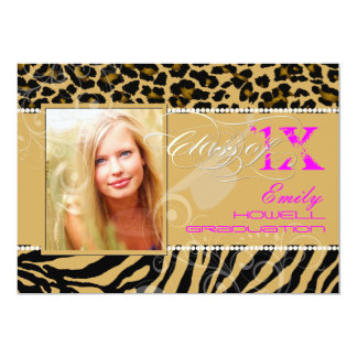 PixDezines 2012 Grads, zebra+cheetah/diy colors Card