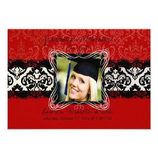 PixDezines 2012 graduation/Damask/diy color Personalized Announcements