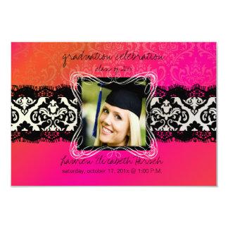 PixDezines 2012 graduation/Damask/orange+pink 3.5x5 Paper Invitation Card