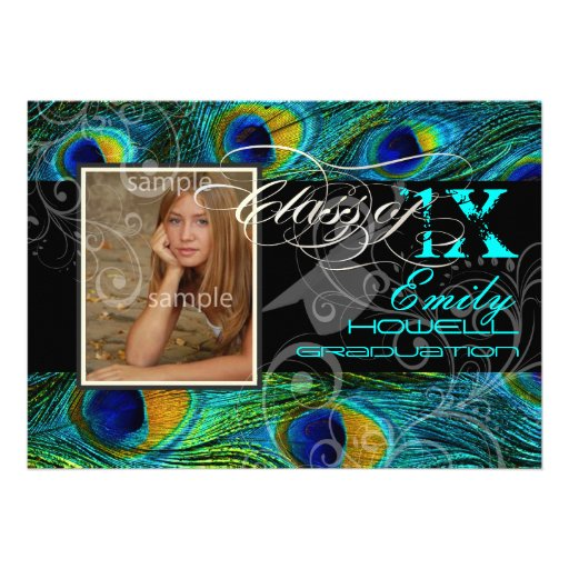 PixDezines 2012 Graduation/peacock feather Invite