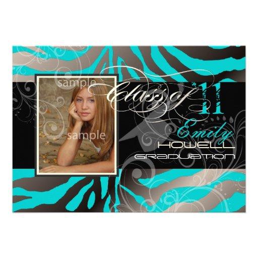 PixDezines 2012 graduation/zebra/diy color Custom Invitation