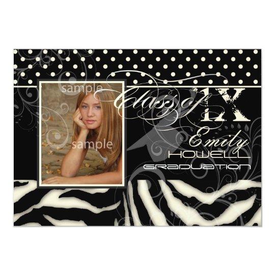 PixDezines 2012 Graduation/zebra+polka dots Card