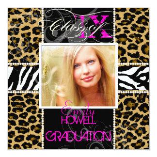 PixDezines 2013 Grads, cheetah+zebra/diy colors Invitation