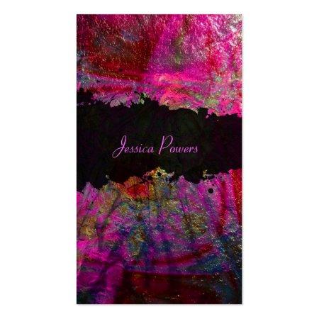 Hot Pink Metallic Texture Abstract Art Business Cards