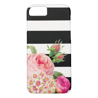 PixDezines adjustable stripes/vintage roses iPhone 7 Case