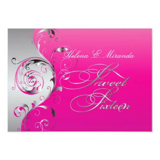 PixDezines afiligranado+remolinos/plata+rosas Invitación 12,7 X 17,8 Cm
