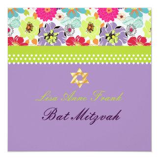 """PixDezines Alegre retro floral, Bat Mitzvah 5.25"""" Square Invitation Card"""
