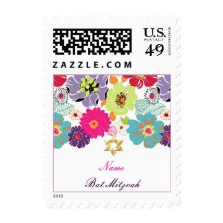 PixDezines Alegre retro floral Bat Mitzvah Postage Stamps