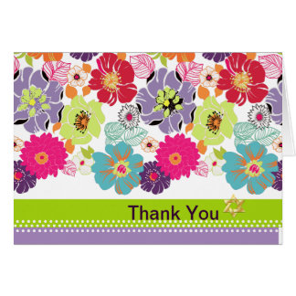 PixDezines Alegre, retro floral Thank You Card