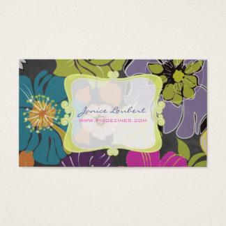 PixDezines alegre retro flowers/chalkboard Business Card