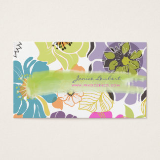 PixDezines alegre retro tropical flowers/DIY color Business Card